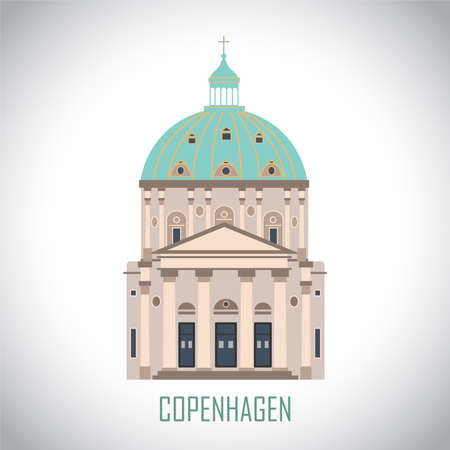 Frederik's church in Copenhagen, Denmark. Flat historic sight attraction. Travel sightseeing collection. Vector illustration.