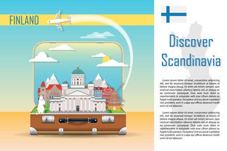 Antecedentes de viaje. Maleta con hitos de Finlandia. Banner publicitario web. Equipaje de infografía con símbolos. Ilustración de vector.