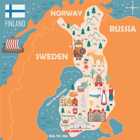 Stilisierte Karte von Finnland. Reiseillustration mit dänischen Wahrzeichen, Architektur, Nationalflagge und anderen Symbolen im flachen Stil. Vektorillustration Vektorgrafik