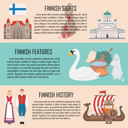 Finland banner set with finnish sights, features, history. Vector illustration