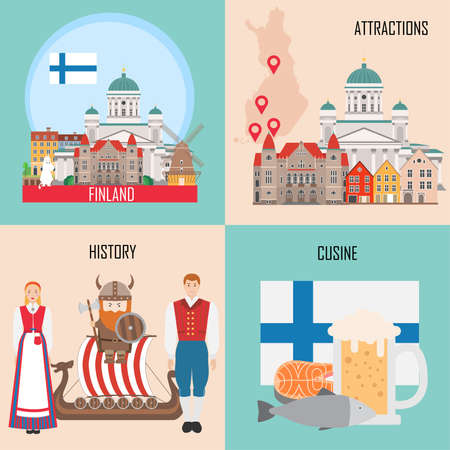 Finland set with Helsinki, traditional cuisine, history and national attractions backgrounds. Vector illustration Ilustrace