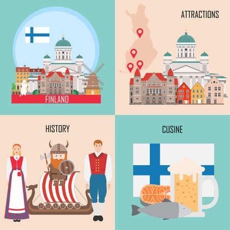 Finlandia ambientata con Helsinki, cucina tradizionale, storia e sfondi di attrazioni nazionali. Illustrazione vettoriale Vettoriali