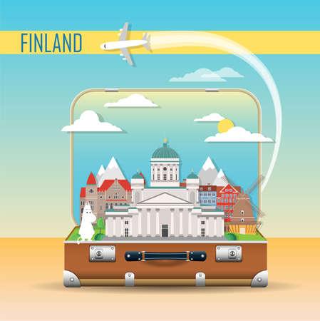 Travel background. Suitcase with landmarks of Finland. Web advertising banner. Infographic luggage with symbols. Vector illustration. Vektorgrafik