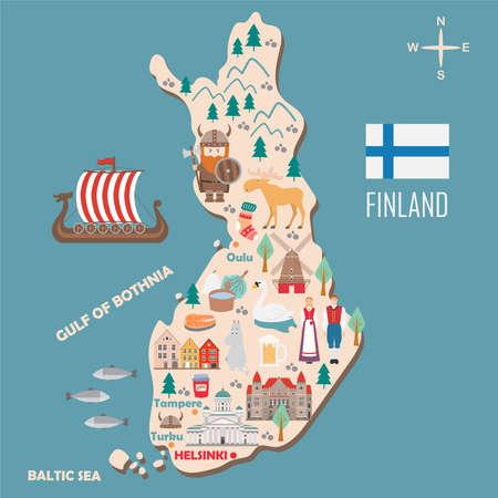 Stilisierte Karte von Finnland. Reiseillustration mit dänischen Wahrzeichen, Architektur, Nationalflagge und anderen Symbolen im flachen Stil. Vektorillustration