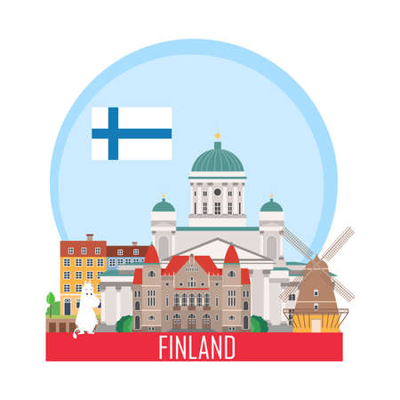 Travel background. Suitcase with landmarks of Finland. Web advertising banner. Infographic luggage with symbols. Vector illustration.