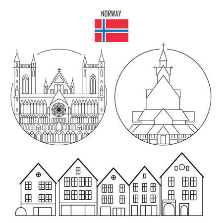 Norway set of landmark icons in line style: Gothic Nidaros cathedral, Stave church in Borgund, Bergen wooden colorful buildings. Travel sightseeing collection. Vector illustration. Çizim