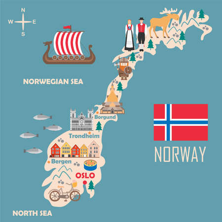 Stylized map of Norway. Travel illustration with norwegian landmarks, architecture, national flag and other symbols in flat style. Vector illustration Иллюстрация