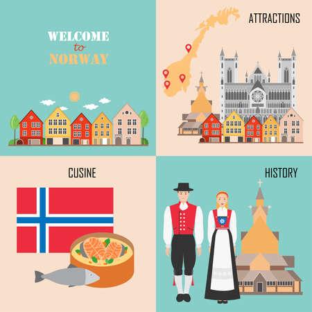 Norwegen mit Holzhäusern aus Bergen, traditioneller Küche, Geschichte und Hintergrund nationaler Sehenswürdigkeiten. Vektorillustration