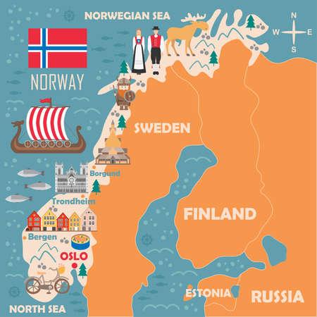 Stilisierte Karte von Norwegen. Reiseillustration mit norwegischen Wahrzeichen, Architektur, Nationalflagge und anderen Symbolen im flachen Stil. Vektorillustration Vektorgrafik