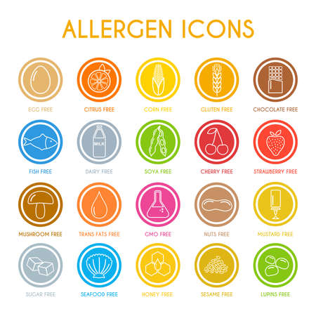 Allergen icons. Vector illustration Vettoriali