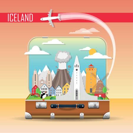 Travel background. Suitcase with landmarks of Iceland. Web advertising banner. Infographic luggage with symbols. Vector illustration. Illustration