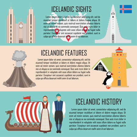 Iceland banner set with icelandic sights, features, history. Vector illustration