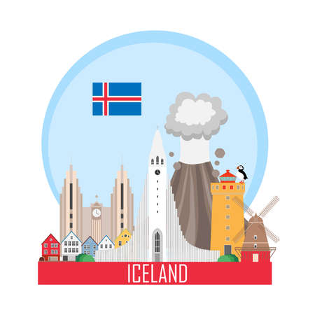 Iceland national attractions background. Vector illustration