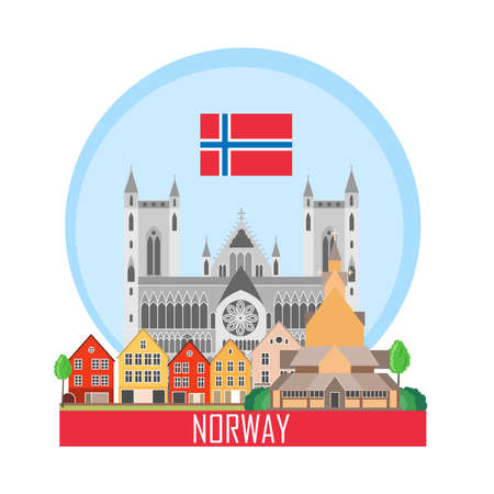 Norway background with national attractions. Icon for travel agency. Vector illustration. Illusztráció