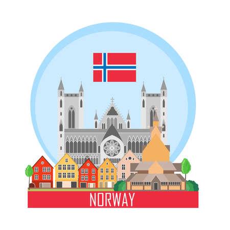 Norwegen Hintergrund mit nationalen Attraktionen. Symbol für Reisebüro. Vektorillustration. Vektorgrafik
