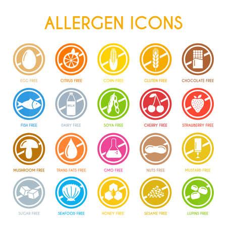 Allergen icons vector set Vettoriali