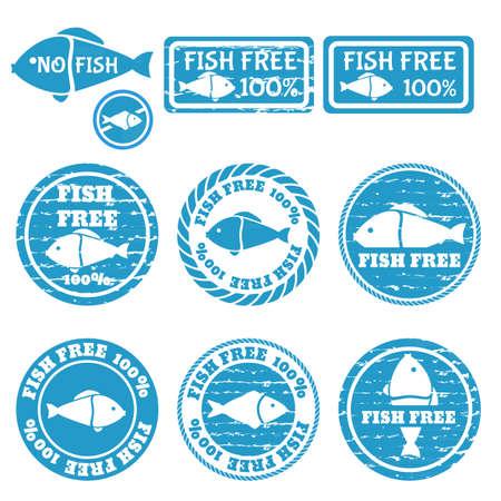 Set of grunge stamps with allergen icons. Fish free icons . Vector illustration Vektoros illusztráció