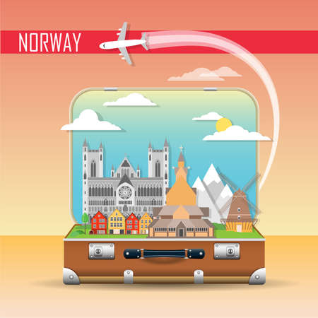 Travel background. Suitcase with landmarks of Norway. Web advertising banner. Infographic luggage with symbols. Vector illustration. Illustration