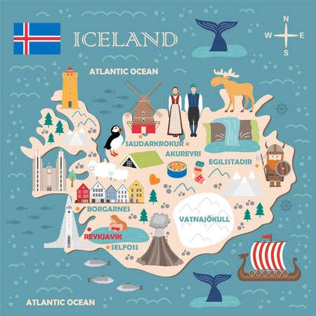Stylized map of Iceland. Travel illustration with icelandic landmarks, architecture, national flag, and other symbols in flat style. Vector illustration Illustration