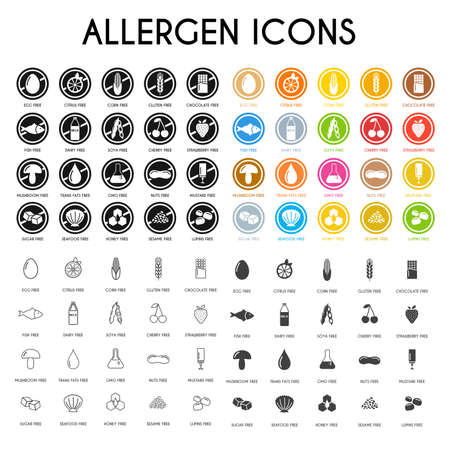 Allergen icons. Vector illustration Stock Illustratie