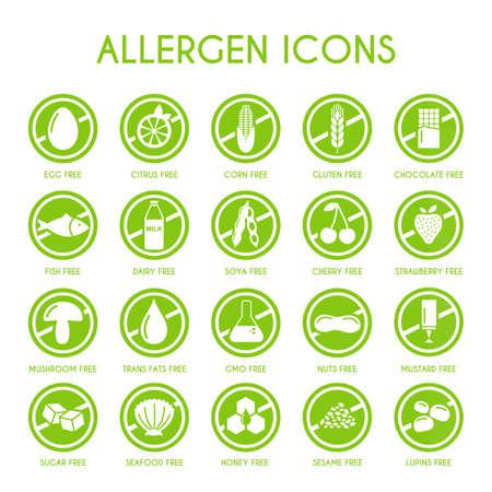 Conjunto de vectores de iconos de alérgenos Foto de archivo - 108742321