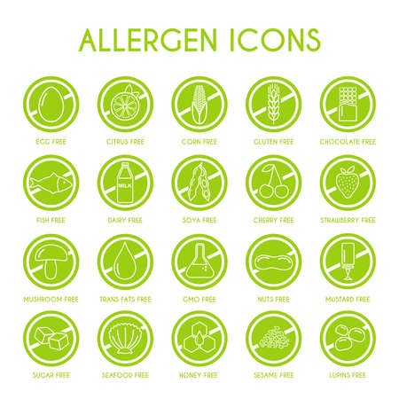 Allergen icons. Vector illustration 矢量图像
