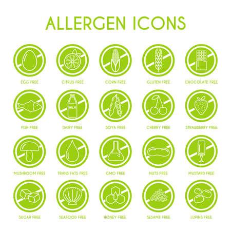 Iconos de alérgenos. Ilustración vectorial