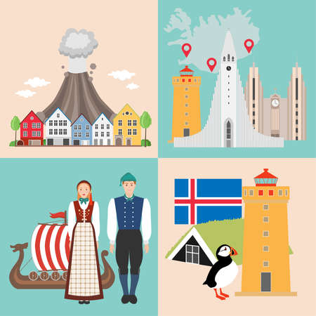 Set with icelandic sights, features, history. Iceland national attractions backgrounds. Vector illustration Illustration