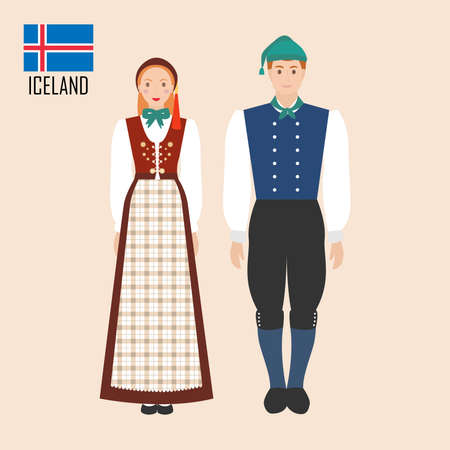 Iceland man and woman in traditional costumes. Vector illustration