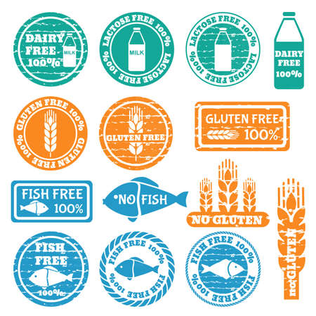 Set of grunge stamps with allergen icons. Gluten, fish, dairy, lactose free icons . Vector illustration Illustration