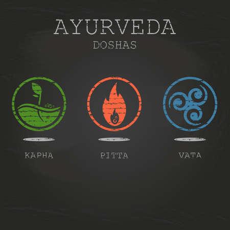 Ayurveda dosha illustrazione vettoriale su sfondo nero lavagna. Doshas vata, pitta, kapha. Tipi di corpo ayurvedici. Infografica ayurvedica. Uno stile di vita sano.