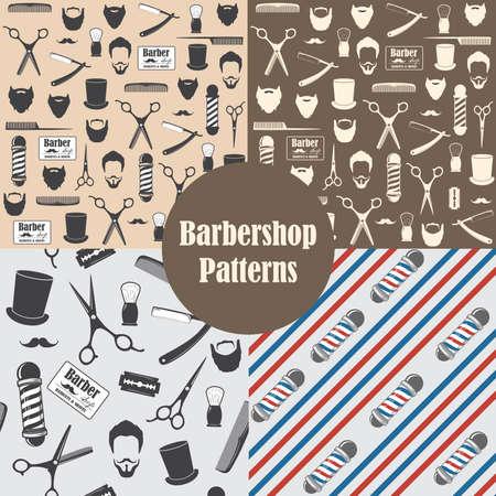 Modèle sans couture vintage de salon de coiffure. Papier peint décoratif, pour impression. Contexte de conception. Illustration vectorielle