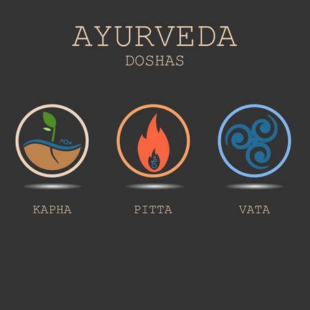 Ayurveda dosha illustrazione vettoriale su sfondo nero. Tipi di corpo ayurvedici: doshas vata, pitta, kapha. Infografica ayurvedica. Uno stile di vita sano.