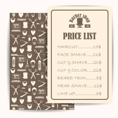 barber shop price or brochure list with prices at the hairstyles