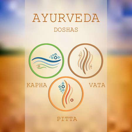 Ayurveda vector illustration. Doshas vata, pitta, kapha. Ayurvedic body types. Ayurvedic infographic. Healthy lifestyle.