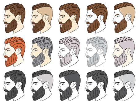 Hombre con barba, hipster. Ilustración vectorial