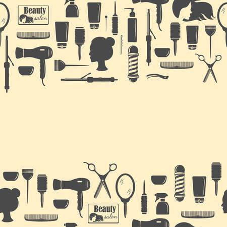Peluquería herramientas de patrones sin fisuras. Conjunto de herramientas de peluquería. Iconos planos para salón de peluquería. Ilustración vectorial