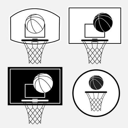 Basketball black basket, hoop, ball isolated on white background. Vector illustration