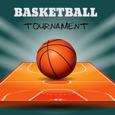 Pelota de baloncesto con fondo de cancha de madera. Ilustración vectorial