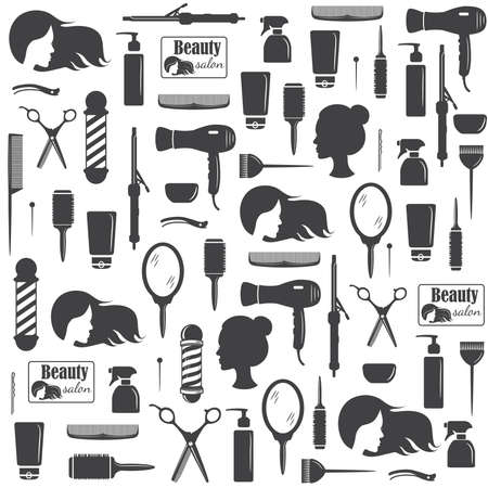 Hairdressers tools seamless pattern. Barber shop tools set. Flat icons for hairdressing saloon. Vector illustration