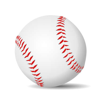 Baseball ball realistic in white leather with red stitches. Vector illustration.