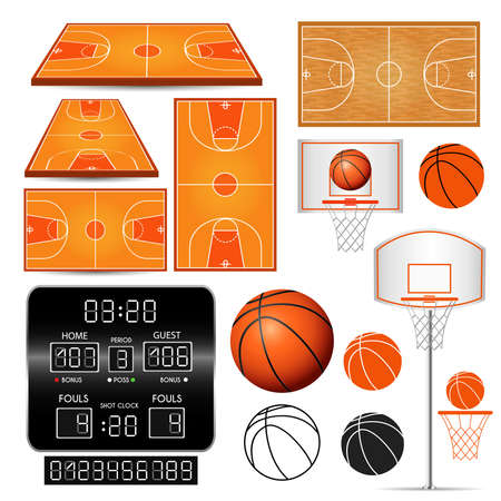 Basketball basket, hoop, ball, scoreboard with numbers, fields isolated on white background. Vector illustration