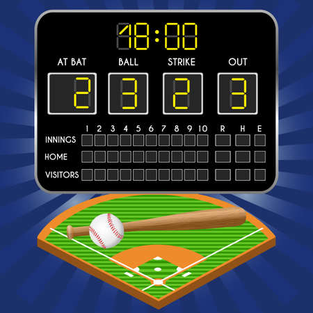 Baseball field with scoreboard, numbers, bat, ball. Vector illustration