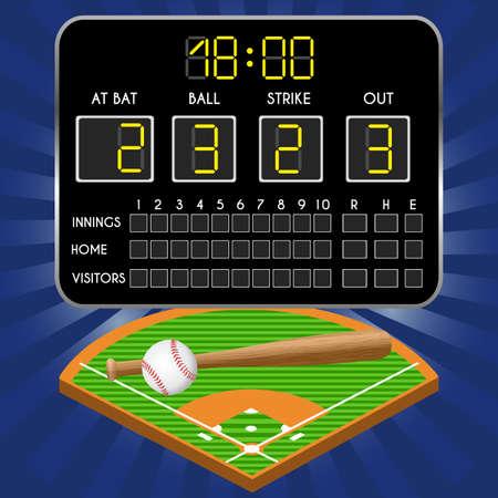 Baseballfeld mit Anzeigetafel, Zahlen, Schläger, Ball. Vektorillustration