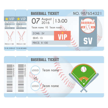 Baseball Ticket Modern Design. Baseball ball, bat, field. Vector illustration Illustration