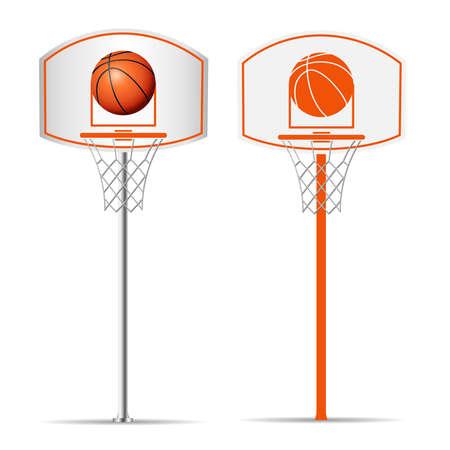 Basketballkorb, Reifen, Ball lokalisiert auf weißem Hintergrund. Vektorillustration
