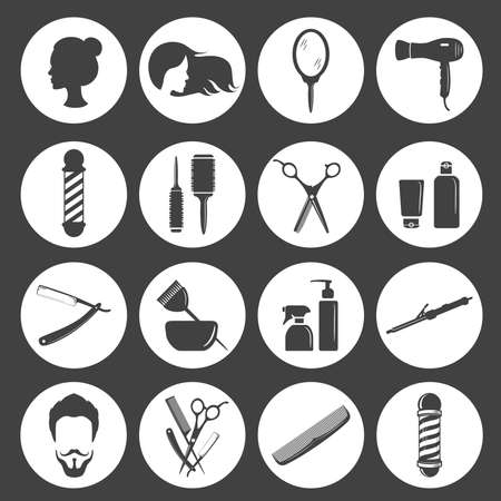 Set of beauty hair salon or barbershop accessories icons. Vector illustration