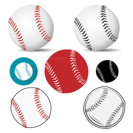 Baseball ball realistic,  icon in white leather with red/black stitches. Vector illustration.