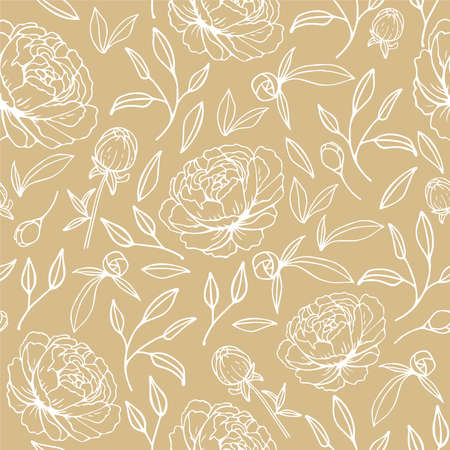 Floral seamless pattern with hand drawn peonies on the beige background in vintage style. Vector illustration Vectores