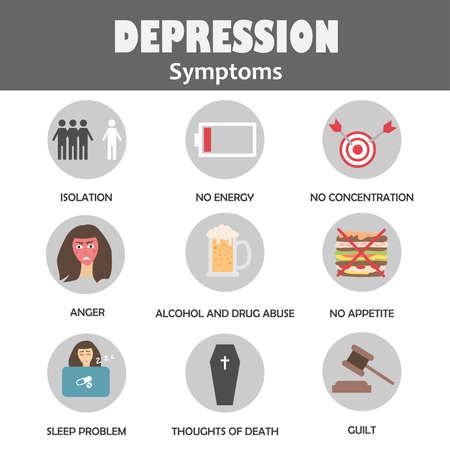 Concetto di infografica sintomi di depressione. Icone piane dei cartoni animati sulla salute mentale. Illustrazione vettoriale
